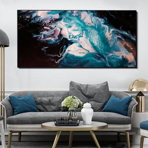 Mordern Seascape Abstrato Lona Posters Blue Sea Beach Pintura Da Lona para Casa Sala de estar Quarto Decoração