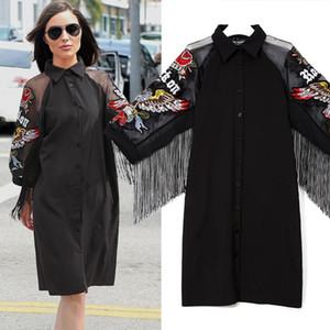Марка Женщины Черный Повседневная рубашка платье 3/4 сетки рукава с крыльями вышивки бахрома дамы Симпатичные Midi Straight платье Robe One Size
