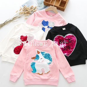 2019 Girls' New Cover Autumn Cotton Long-sleeved Jacket Double Cat Discoloration Sequins
