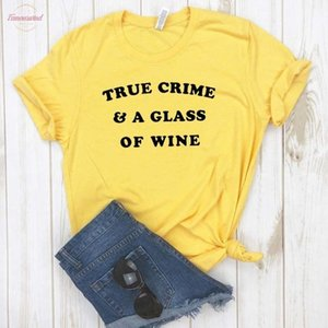 True Crime Amp; A Glass Of Tops Wine Women Tshirt Cotton Casual Funny T Shirt For Lady Girl Top Tee Hipster Drop