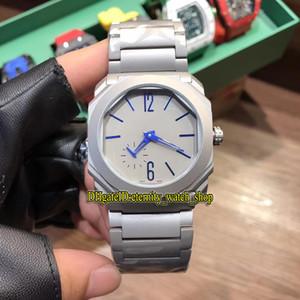 Hochwertige Octo Finissimo BGO40C14TTXTAUTO / L 102945 blaues Zifferblatt Japan Miyota automatische Herrenuhr graues Gehäuse 316L Stahlband Sportuhren