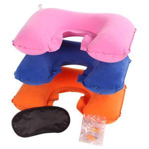 Almohada de viaje inflable en forma de U 3PCS Funda de almohada de viaje inflable en forma de U Tapa para los ojos Tapones para los oídos Resto del cuello Cuello en forma de U Cojín de aire
