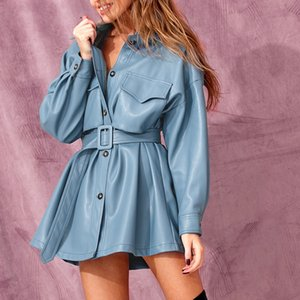 MarchWind Marque Designer Bleu PU Robe courte en cuir avec ceinture femmes surdimensionné Streetwear Vêtements Veste simple Tenues Boucle