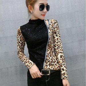 Patchwork Leopard Pullover Tshirt 2020 New Spring Autumn Women Sequined Bottoming Shirt Turtleneck T Shirts Clothes T91801