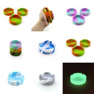 Circular de mármol Silicona Cenicero camuflaje Líneas Ashtraies mezcla de colores del color puro bandeja de ceniza de internet Bar Ktv originalidad 3ds C2