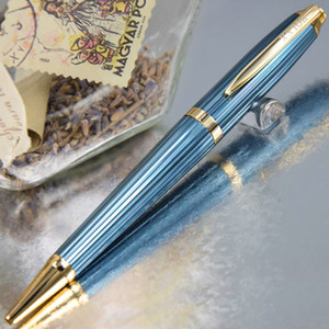높은 품질 RX 클래식 파란색 선 그리기 고급 금속 배럴 볼펜 + 커프스 세트 + 박스 + 2 추가 선물 리필 + 선물 봉제 인형 파우치