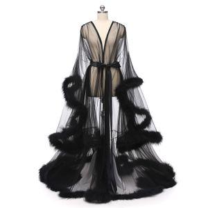 Düğün Gelin Boudoir Robe pembe tüy Gelin Şeffaf Robe Tül Illusion Uzun Doğum Tüy Robe Kostüm Yapımı Seksi Tüy