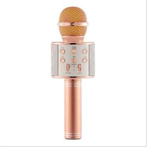WS858 Wireless USBS Micrófonos Profesionales Condensadores Karaoke MIC Bluetooth Stand Radio Mikrofon Studio Grabación Estudio WS858