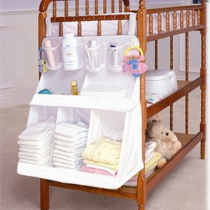 Baby Waterproof Diapers Organizer Newborn Nursery Bedside Bed Storage Bag Infant Crib Cradle Clothes Container Holder Baby