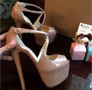 2019 Cross ремень насосы пятки платформы красной подошвой Peep Toe Экстремальный Высокие каблуки Sexy Party ботинки женщин Nude сандалии 16см Мода Размер обуви 42