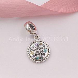 925 autentici perline argento Ci sono tanti bei motivi per essere felice ciondola fascino, fascini dello smalto misto Adatto europea Pandora