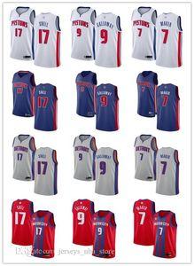 Mens Womens YouthDetroitPistons17 Tony Snell 9 Langston Galloway 7 Thon Maker Blue white red Grey custom Basketball Jerseys 0