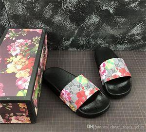 Scarpe da uomo di design Gomma con scivoli Sandali Blooms Scarpe da donna rosse Beach Stripe Infradito Pantofole Fiore Box Duty Bag Big Size 13