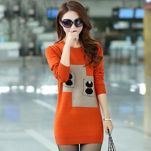 Женская свитер осень зима одежда женщин 2019 Корейский стиль женщины Крупногабаритные Длинные свитера платье Вытащите Femme MY