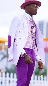 Nuovo stile a doppio petto picco risvoltato da uomo affari abiti da ballo prom smoking ragazzo festa giacca pantaloni (giacca + pantaloni + cravatta) K24