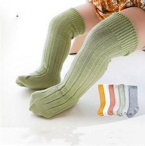 Baby-Designer Baumwollstrümpfe Kids Solid Color Kniestrümpfe Kleinkind Knitting Breathable Strümpfe Newborn Frühling beiläufige Stocking ZYQ374