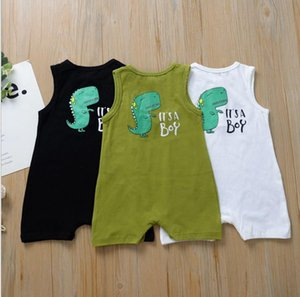 Baby Boy Clothes Dinosaur Printed Toddler Boys Rompers Sleeveless Children Jumpsuit One-Piece Outfit Summer Infant Playsuit 3 Colors DW5176
