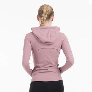 Plain Hoody Donne Zip Up yoga Giacca elastica lunga manica della giacca palestra Sport Fitness in esecuzione vestiti sexy Slim Atheltics Abbigliamento yogaworld