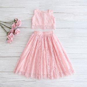 2020 Primavera-Verão Set Vestuário para meninas meia luva Lace Top + champagne rosa saia longa crianças roupas 2-11T E17121 Y200623
