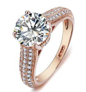 ارتفع R036 أنيق كريستال 18K الذهب خاتم مطلي مصنوع مع بلورات النمساوية حقيقية كاملة مقاسات بالجملة