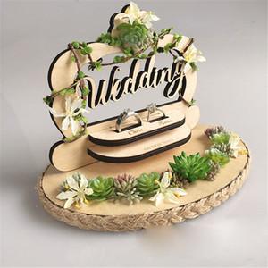 Yaratıcı ahşap halka yastık düğün orman tarzı el yapımı zil tutucu nişan evlilik teklifi günü düğün süslemeleri