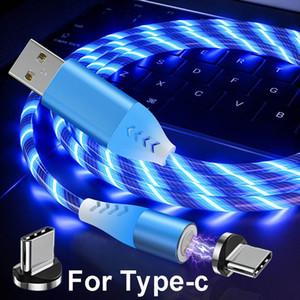 3A Flowing LED magnétique Câble Micro USB Type C Câble de charge rapide Câble USB pour Samsung-C Câbles téléphoniques