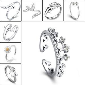925 Gümüş Yüzük Taç Yunuslar Dragonfly At Kanat Fox Kalp Sonsuza Aşk Ayarlanabilir Parmak Halkası