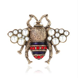 Honeybee Spilla Crystal Diamond Bee Pins Spille di design di lusso Spille in lega di zinco strass per donna