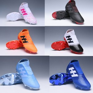 2020 outdoorsoccer الأصلي المرابط Nemeziz ميسي 18+ FG أحذية كرة القدم Nemeziz 18 chaussures دي أحذية كرة القدم chuteiras دي futebol البرتقال
