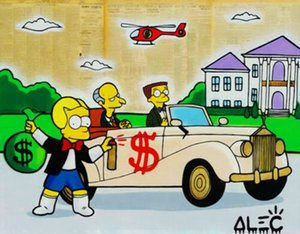 Alec Monopoly Graffiti Art The Simpsons Mr Burns Home Decor dipinto a mano HD Stampa Olio su tela di arte della parete della tela di canapa Immagini 200806