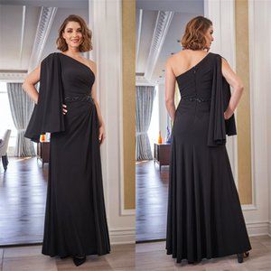 Sexy Black A-line Mother Dresses One-shoulder Sleeveless Ruched Satin Wedding Guest Gown Appliqued Sash Knee-length Custom Made Mother Gown