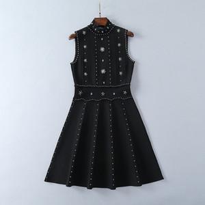 610 Runway платье Марка Same Стиль платье без рукавов Crew Neck Бисер Kint Женская одежда Роскошные платья моды SH