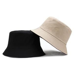일반 가역 버킷 모자 캡 코튼 빈 파나마 야외 스포츠 두 측면 착용 어부 태양 모자 솔리드 복장