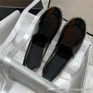 Ladies Classic patent leather with woven mules Straw Sole,Soft Casual Flat Mules Classic Ballerinas shoes,With box