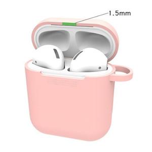Airpods 용 실리콘 이어폰 케이스 1 2 스킨 슬리브 파우치 박스 보호기 무선 헤드폰 보호 커버 콕스 공기대 케이스 후크