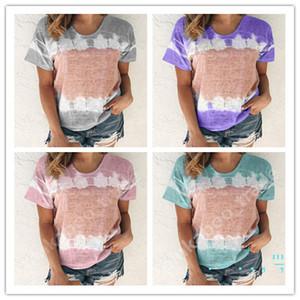 Mulheres Blusa de manga curta em torno do pescoço pulôver Tops camiseta Casual Ladies Spring Summer Moda Patchwork Vestuário S-5XL LY403