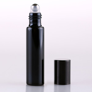 200PCS Thick 5ml Frosted BLACK Empty Roll on Glass Bottle for Essential Oil Perfume Bottle Roller Ball new By DHL