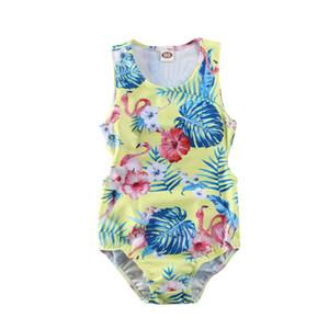 원피스 유아 아기 소녀 수영복 플라밍고 꽃 등이없는 비키니 수영복 수영복 브라질 비치웨어 Biquini 2020 Mujer
