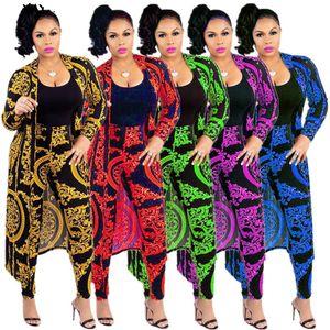 « Les femmes S Survêtement Mode sexy manches longues X -Long Leggings National Imprimer Trench Coat Skinny Ensemble 2 pièces Taille de costumes S-4XL