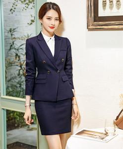 Hochwertige Faser-formale Frau Rock Anzüge für Frauen Anzüge Blazer und und Jacke Sets Damen Arbeitskleidung OL Stil