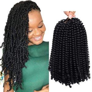 Synthetic Hair Braiding por mayor de 8 pulgadas de ganchillo Extensiones de alta temperatura de fibra Ombre color o giros de muelle de torsión pelo del resorte de giro trenza