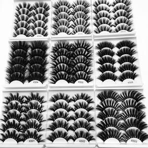 25mm Mink capelli Ciglia finte Incrociato Spesso 3D Eye Lashes estensione a mano il trucco degli occhi Strumenti 5Pair / Confezione