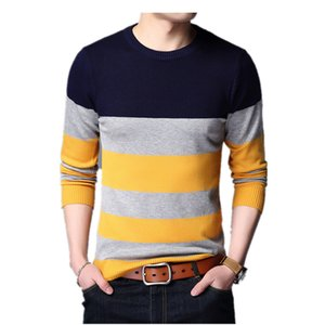 FGKKS Hombres Marca Slim Fit Suéter 2018 Invierno Hombres Patchwork Suéteres Casuales Pullover Hombre de manga larga caliente suéter superior masculino