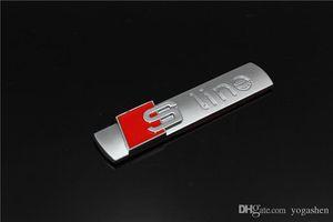 Metal 3D Sline S línea de defensa del emblema de la etiqueta engomada de la insignia del coche de estilo para Audi A1 A3 A4 A5 A6 A7 A8 Q3 Q5 Q7 S3 S4 S5 S6 S7 S8 TT