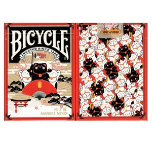 Bicycle Maneki Neko Playing Cards Red Lucky Cat Deck USPCC Collectible Poker Magic Card Games Magic Tricks Props for Magician