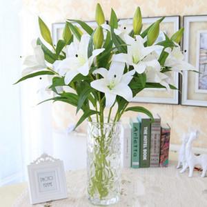 5pcs / lot noce 75cm 3 têtes blanc lys bouquet en plastique fleur artificielle maison salon art décor fleurs