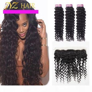 JYZ Brazilian Virgin Hair Deep Wave With Lace Frontal Closure Ear To Ear Lace Frontal Closure With Bundles Curly Weave Human Hair