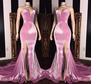 Elegant Querida Sereia Prom Vestidos longos 2020 alta de Split Trem da varredura formal do partido barato simples Evening usar vestidos BC1231