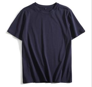 Été Nouvelle arrivée coton pour hommes T-shirt à manches courtes blanc de grande taille Casual Navy Blue Boys