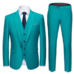 (Blazer + pants + vest) 2019 high-end custom business prom Men suit suit men's casual wedding Tuxedo dress men's 3 piece suit